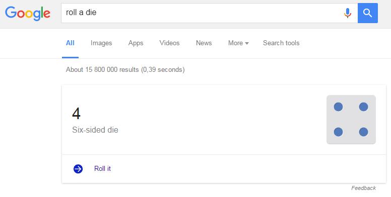Google Roll a Die